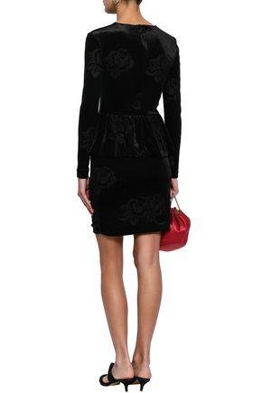 GANNI Bloomsbury devoré-satin mini dress