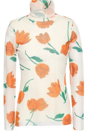 GANNI Floral-print mesh turtleneck top