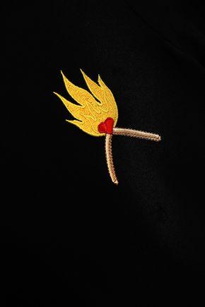 GANNI Linfield embroidered jersey T-shirt