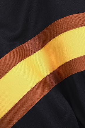 GANNI Dubois striped stretch-knit polo shirt