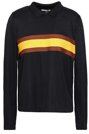 GANNI Dubois striped stretch-knit polo shirt