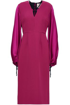 ROKSANDA Paneled silk-blend and twill midi dress