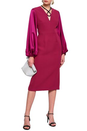ROKSANDA Silk-blend satin and twill midi dress