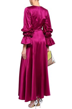 ROKSANDA Ruched silk-satin maxi dress
