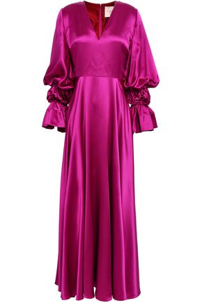 ROKSANDA Ruched silk-satin maxi dress