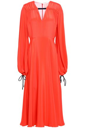 ROKSANDA Gathered silk crepe de chine midi dress