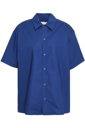 MARNI Gathered cotton-poplin shirt