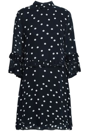 GANNI Marceau ruffle-trimmed polka-dot georgette mini dress