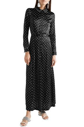 GANNI Dufort polka-dot silk-blend satin maxi dress