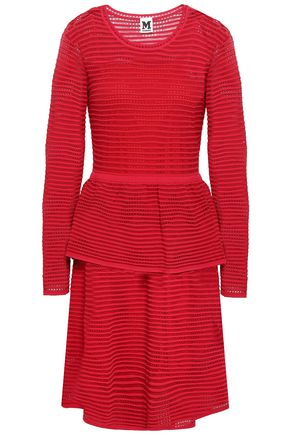M MISSONI Ribbed pointelle-knit peplum dress