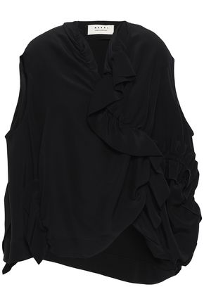 MARNI Asymmetric draped silk top
