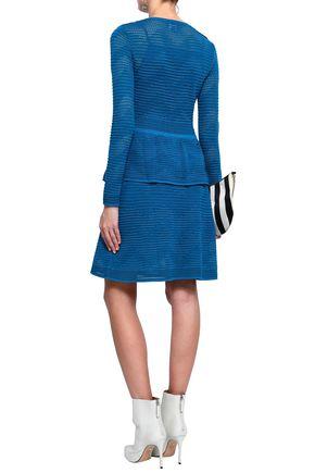 M MISSONI Ribbed pointelle-knit peplum dress