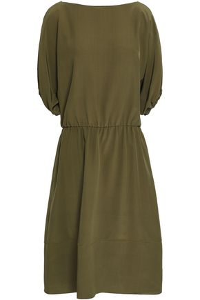 MARNI Gathered crepe de chine midi dress