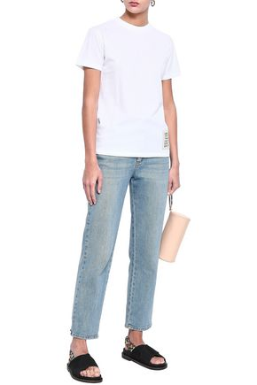 GANNI Appliquéd printed cotton-jersey T-shirt