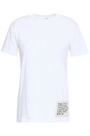 GANNI Appliquéd printed cotton-jersey T-shirt
