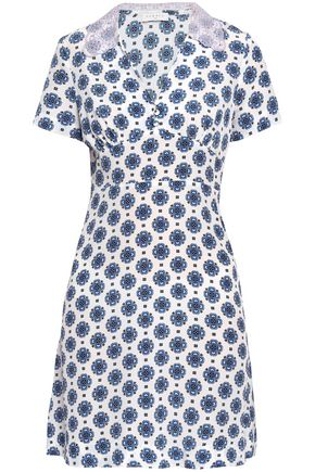 SANDRO Broderie anglaise-trimmed printed silk-crepe mini dress