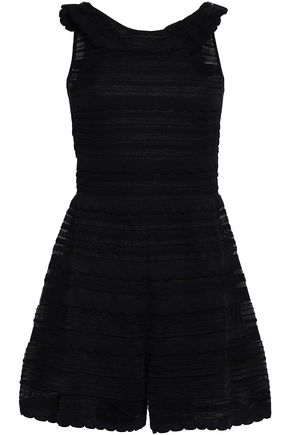 M MISSONI Open-back metallic crochet-knit cotton-blend playsuit