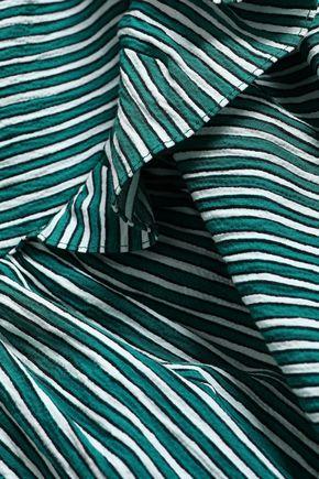 SANDRO Off-the-shoulder ruched cotton-blend seersucker mini dress