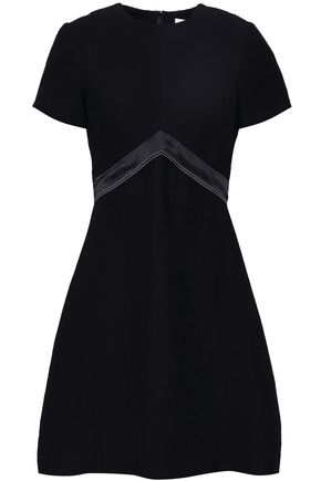 SANDRO Isaure silk satin-trimmed ribbed woven mini dress
