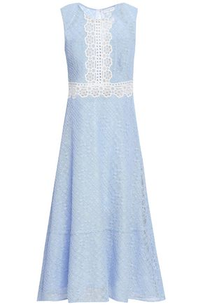 SANDRO Fluted cotton-blend corded lace midi dress