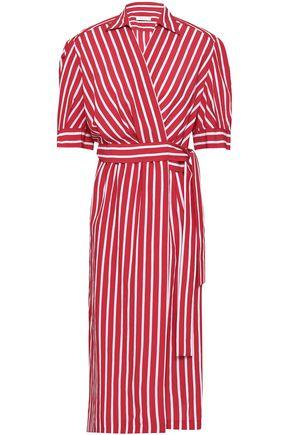 SANDRO Striped woven wrap dress