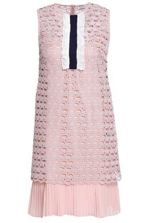 SANDRO Lace-trimmed pleated crochet-knit mini dress