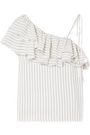 GANNI Wilkie ruffled striped silk and cotton-blend seersucker top