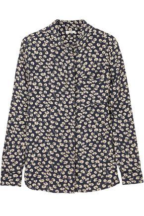GANNI Roseburg floral-print washed-crepe shirt