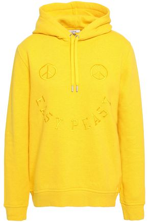 GANNI Lott Isoli embroidered French cotton-terry hoodie