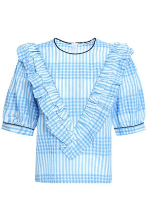GANNI Charron ruffled checked cotton-blend seersucker top