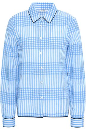 GANNI Checked cotton-blend seersucker shirt