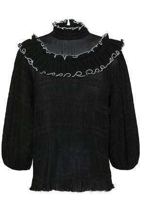 GANNI Ruffle-trimmed plissé-crepe de chine blouse
