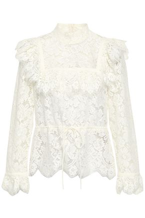 GANNI Ruffle-trimmed corded lace top