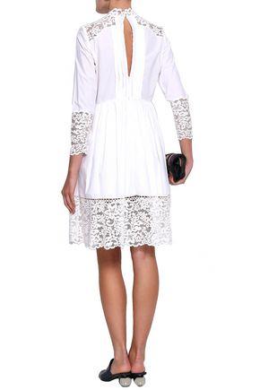 SANDRO Lace-paneled pleated cotton-poplin mini dress