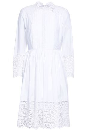 SANDRO Lace-paneled pleated cotton-poplin mini dress