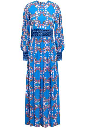 SANDRO Broderie anglaise-paneled floral-print crepe de chine maxi dress