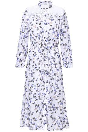 SANDRO Broderie anglaise-paneled floral-print gauze midi dress