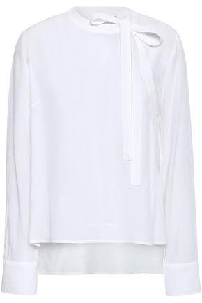 SANDRO Bow-detailed crepe de chine blouse