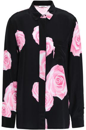 GANNI Floral-print silk crepe de chine shirt