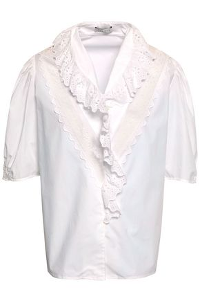 SANDRO Broderie anglaise-trimmed cotton-poplin shirt