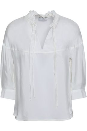 SANDRO Ruffle-trimmed twill blouse