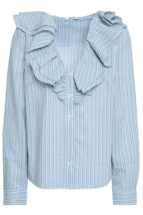 GANNI Charron ruffled striped cotton-blend seersucker blouse