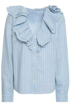 GANNI Charron ruffled striped cotton-blend seersucker blouse
