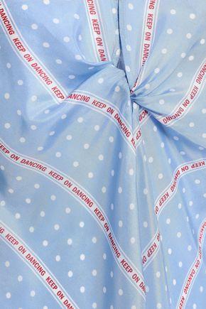 SANDRO Cutout twist-front printed silk blouse