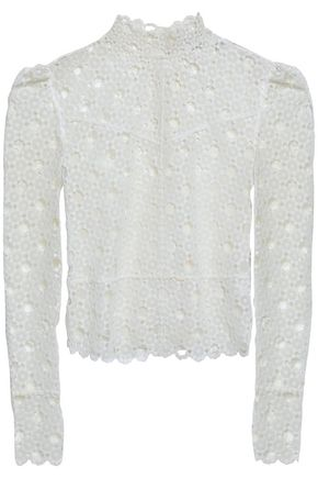 SANDRO Guipure lace turtleneck top