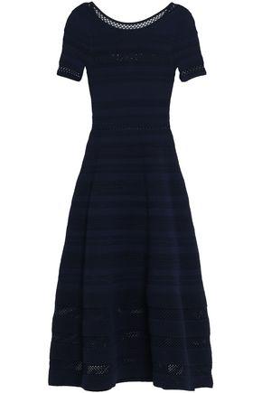 SANDRO Fluted pointelle-knit midi dress