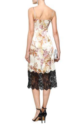CHRISTOPHER KANE Lace-paneled floral-print silk-satin midi slip dress