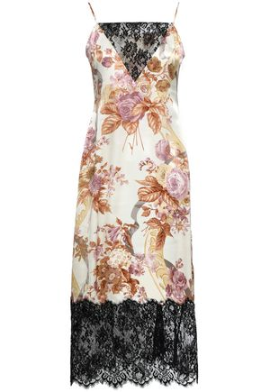 CHRISTOPHER KANE Lace-paneled floral-print silk-satin midi slip dress