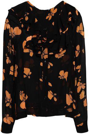 GANNI Fairfax ruffle-trimmed floral-print georgette blouse