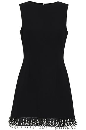 CHRISTOPHER KANE Crystal-embellished leather-trimmed wool-crepe mini dress